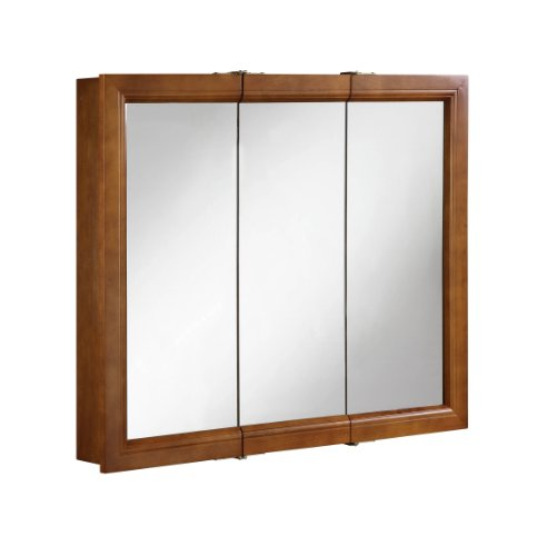 Hardware House LLC H11-5742 Manchester Collection 36-Inch Medicine Cabinet Tri-View Surface Mount, Chestnut Finish