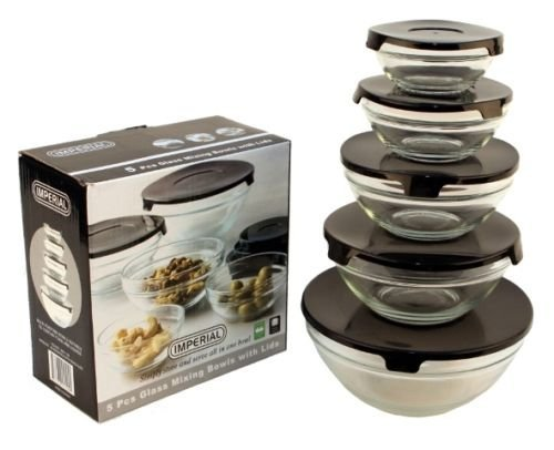 10 Pcs Glass Lunch Bowls Healthy Food Storage Containers Set With Black Lids , The snap tight lids will help keep all your food fresh and secure while they are stackable for easy storage. (10 1 4 Lid compare prices)
