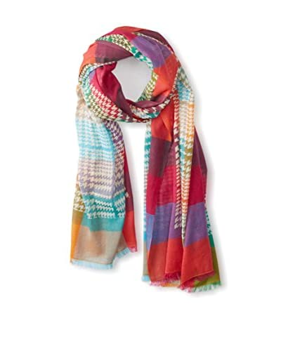 Saachi Women's Rain of Colors Houndstooth Scarf, Spring Multi