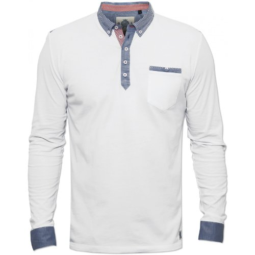 Guide London Mens White SJ3801 Polo Shirt Long Sleeved Checked Collar RRP £55 White Large