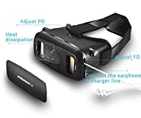 "FeiFan 3D VR Virtual Reality Headset with Bluetooth Remote Google Version 3D VR Glasses with Adjustable Strap for 3.5 to 5.7"" inch IOS Android Smartphone color black by FeiFan"