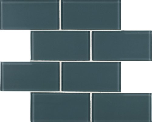 Arizona Tile 3 by 6-Inch Skylights Glossy Glass Tile on a 12 by 12-Inch Staggered Mesh, Smoky, 8-Pack