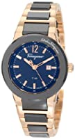 Salvatore Ferragamo Women's F53SBQ58909 S589 F-80 Rose Gold Plated Two Tone Black Ceramic Watch by Salvatore Ferragamo