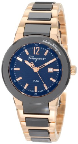 Ferragamo Women's F53SBQ58909 S589 F-80 Rose Gold Plated Two Tone Black Ceramic Watch