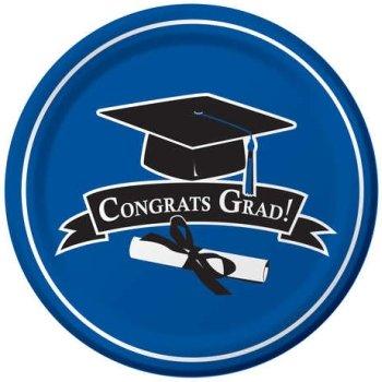 """Congrats Grad 9"""" Plates - Blue - 1"""