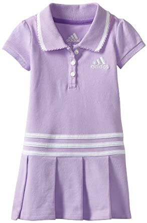 adidas Baby-Girls Infant Pretty Pleats Polo Dress, Orchid Bloom, 9 Months