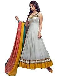 White Orange Gorgette Long Anarkali Unstich Dress