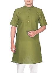 Rajubhai Hargovindas Men's Sap Green Tussar Cotton Kurta (Half Sleeve)