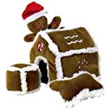 Kyjen PP01797 Gingerbread House Dog Toys Plush Interactive Puzzle Squeaking Toy For Dogs, Large, Brown