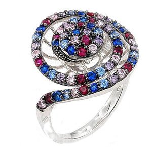 Sterling Silver Multi Colored Ferroni Swarovski Zirconia Spiral Shaped Right Hand Ring