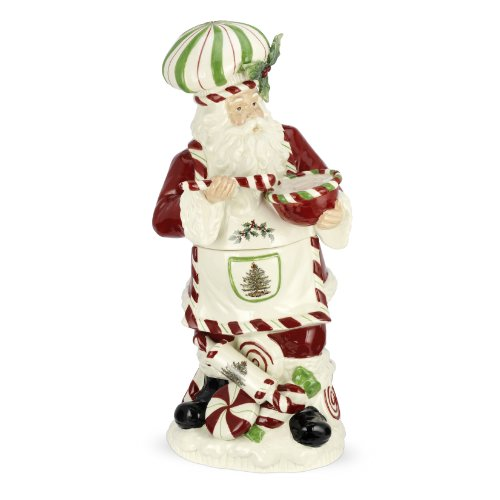 Spode Christmas Tree Peppermint Chef Santa Cookie Jar, 18-Inch