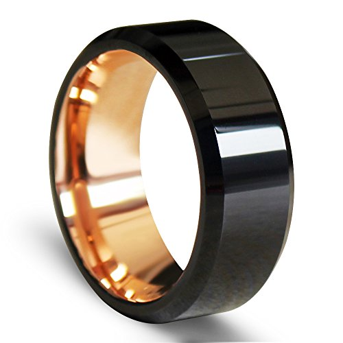 EZreal Black Beveled Tungsten Carbide Rings With Comfort