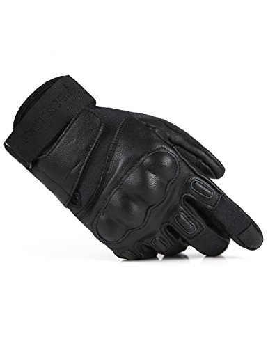 FREE SOLDIER Outdoor Men Military Hard Knuckle Full Finger Glove Leather Gloves Cycling Climbing Training Tactical Armor Gloves (Black, XL)