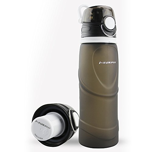 i-SURPLU Activated Carbon Filter Collapsible Water Bottle,BPA Free(26oz/750ml),Silicone Folding Activated Carbon Bottle,The Smart HydrationSolution for Sport,Outdoor,Travel,Camping,Picnic(Cool Gray) (Water Purifier Carbon Filter compare prices)