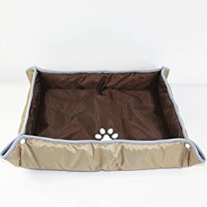 Pet Bed Dog Cushion Puppy Mat Cat Beds Dual-use Waterproof Oxford Chew Resistant (Khaki, S)