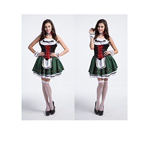 Maconaz Halloween Oktobefest Beer Cute Girl Bavarian Bar Maid Costume