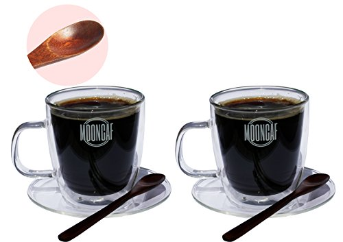 Espresso Cups Set of 2 by Mooncaf, Double Wall Design, Quality Borosilicate Glass Material, Attractive Wooden Spoons, Easy Handles, 8.5 Oz Capacity, Suitable for Tea, Coffee, Hot or Cold Drinks (Expresso Coffee Spoons compare prices)