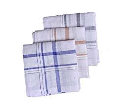 S4S 100% Cotton Striped Handkerchiefs (Pack of 3)