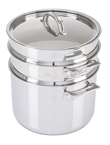 Viking Culinary 3-Ply Stainless Steel Pasta Pot with Steamer, 8 Quart