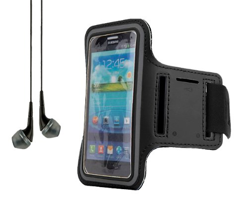 Black Workout Running Sports Gym Armband Case Pouch For Samsung Galaxy Series S5 And S4 Smartphones + Black Headphones