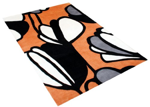 ZnZ Rugs Gallery, 23083_5x8, Hand Made Orange New Zealand Blend Wool Rug, 1, Charcoal, Black, White-Cream , 5x8