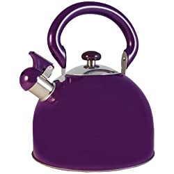 Le Chef Stainless Steel Whistling Purple Tea Kettle 3-Qt