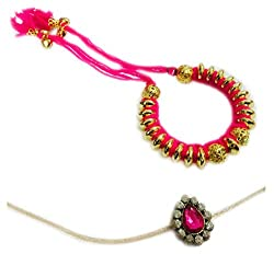 Cotton Dori Pink Bangle Lumba Rakhi For Bhaiya & Bhabhi Lumba