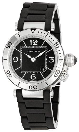 Cartier Women's W3140003 Pasha Stainless-Steel Ceramic Black Dial Watch