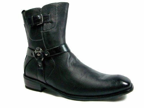 Delli Aldo Men's 811A-Black Calf High Western Style Boots, Black, 12