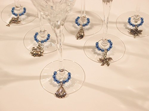 Beach Wine Glass Charms Set By Serendipity
