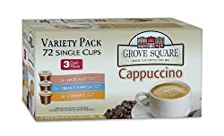 Grove Square Cappuccino Variety Pack, 72-Count Single Serve Cup for Keurig K-Cup Brewers by Grove Square Coffee [Foods]