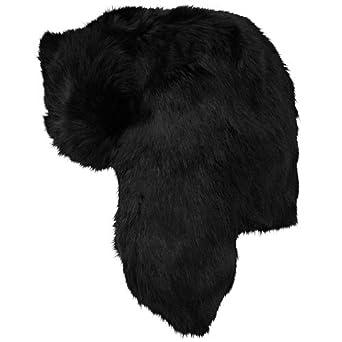 Crown Rabbit Fur Trapper Hat- Black (Large, Black)