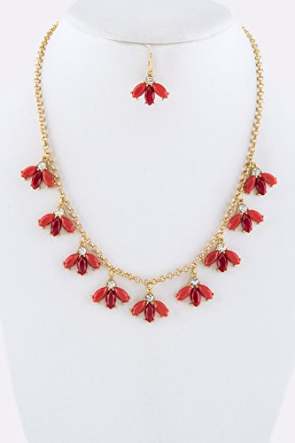 Trendy Fashion Jewelry Petite Flower Station Collar Necklace Set By Fashion Destination trendy fashion jewelry multi tribal cut out tiered necklace set by fashion destination