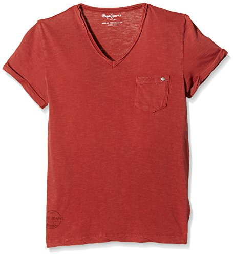 pepe-jeans-lev-t-shirt-uni-garcon-orange-coral-fr-14-ans-taille-fabricant-s