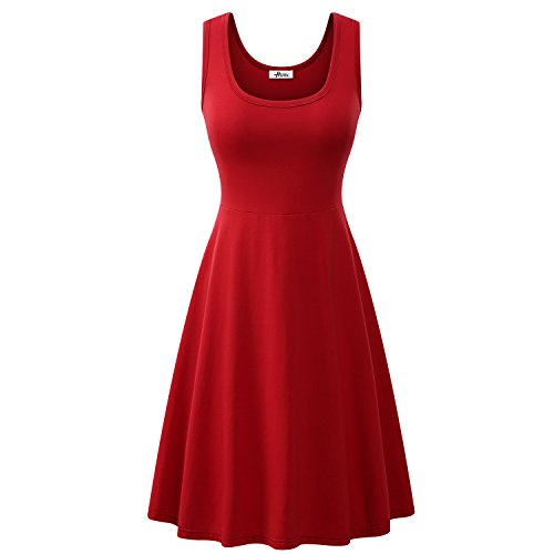 Herou Women Summer Beach Casual Flared Midi Tank Dress (Large, Dark Red)