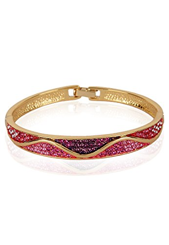 Estelle Estelle Gold Plated Bracelet With Pink Crystals For Women (Transperant)