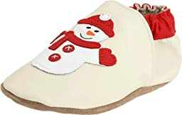 Robeez Soft Soles Happy Snowman Crib Shoe (Infant/Toddler),Cream Leather,12-18 Months (4.5-6 M US Toddler)