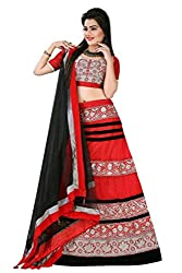Astha Fashion Party ware Red and Black Embroidery work Lehenga