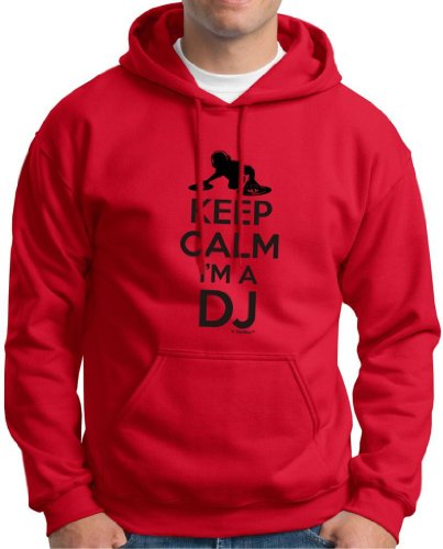 Keep Calm I'M A Dj Premium Hoodie Sweatshirt Large Red