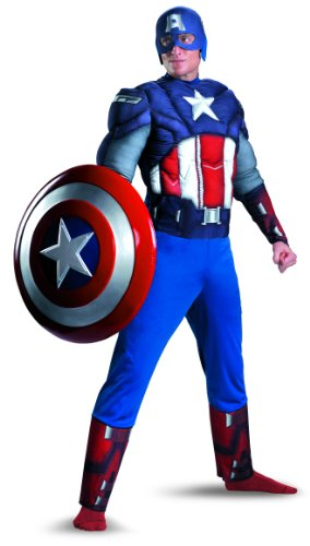 Disguise Marvel's Captain America Costume, White/Blue/Red, X-Large/(42-46)