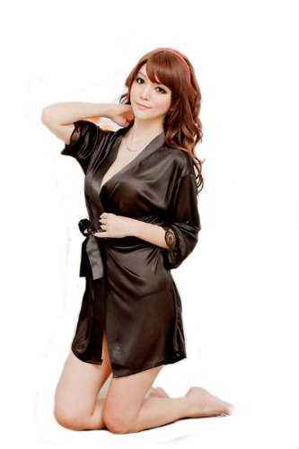 Aolevia Damen Sexy Satin Unterwäsche Pyjamas Nachthemd Lace G-string Robe aus Chiffon Size S - M-Black