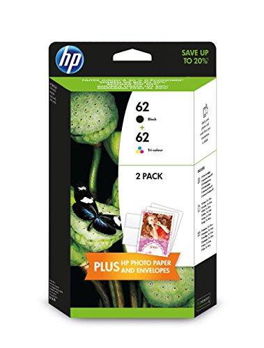 HP 62 2er-Pack Schwarz/Cyan/Magenta/Gelb Original Tintenpatronen