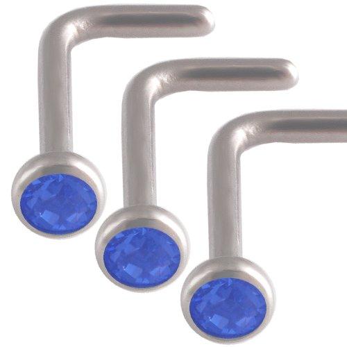 3Pcs 18g 18 gauge 1mm Steel nose rings studs screws bones bars Sapphire Crystals AJHP Jewellery Body Piercing