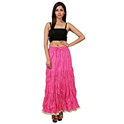Stylish Pink Cotton Lehariya Skirt