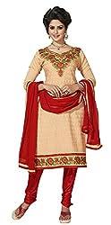 Parisha s Beige Embroidered Chanderi Straight Suits Dress Material(Beige,Red)