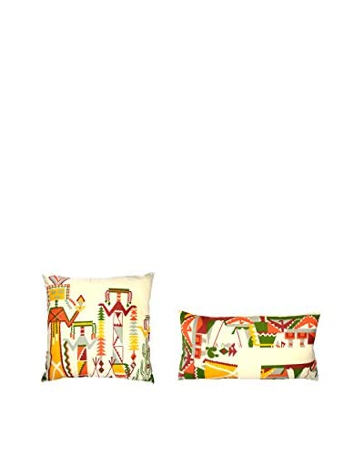 Uptown Down Set of 2 Found Accent Pillows, Natural/Multi As You See