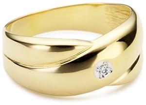 Bella Donna Damen-Ring 8 Karat Gelbgold 1 Diamant Gr. 60  103583
