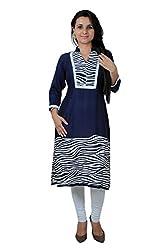 Kittus Fashion House Women's Poly Rayon Straight Kurti (Kskrt-1069_Blue_Xx-Large)