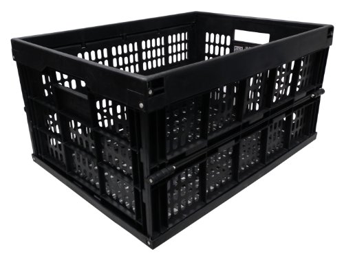 20x 33L Black Heavy Duty Plastic Folding Storage Crate Collapsible Stacking Boxes