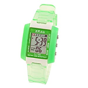 Green Kids Ditial Sports Alarm Wrist Watch Stopwatch